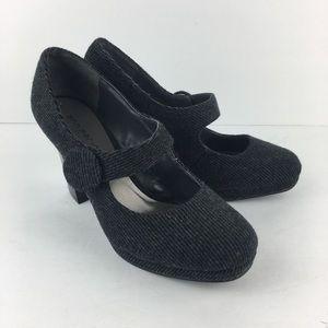 Gray Fabric Mary Jane Tall Heels